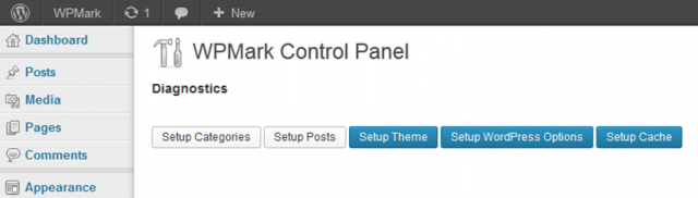 Screenshot of the WPMark Control Panel