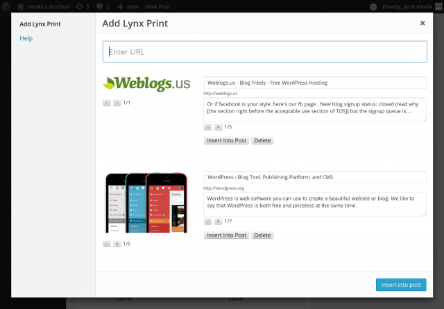 WP Lynx 1.0.0 Lynx Print Adding Screen