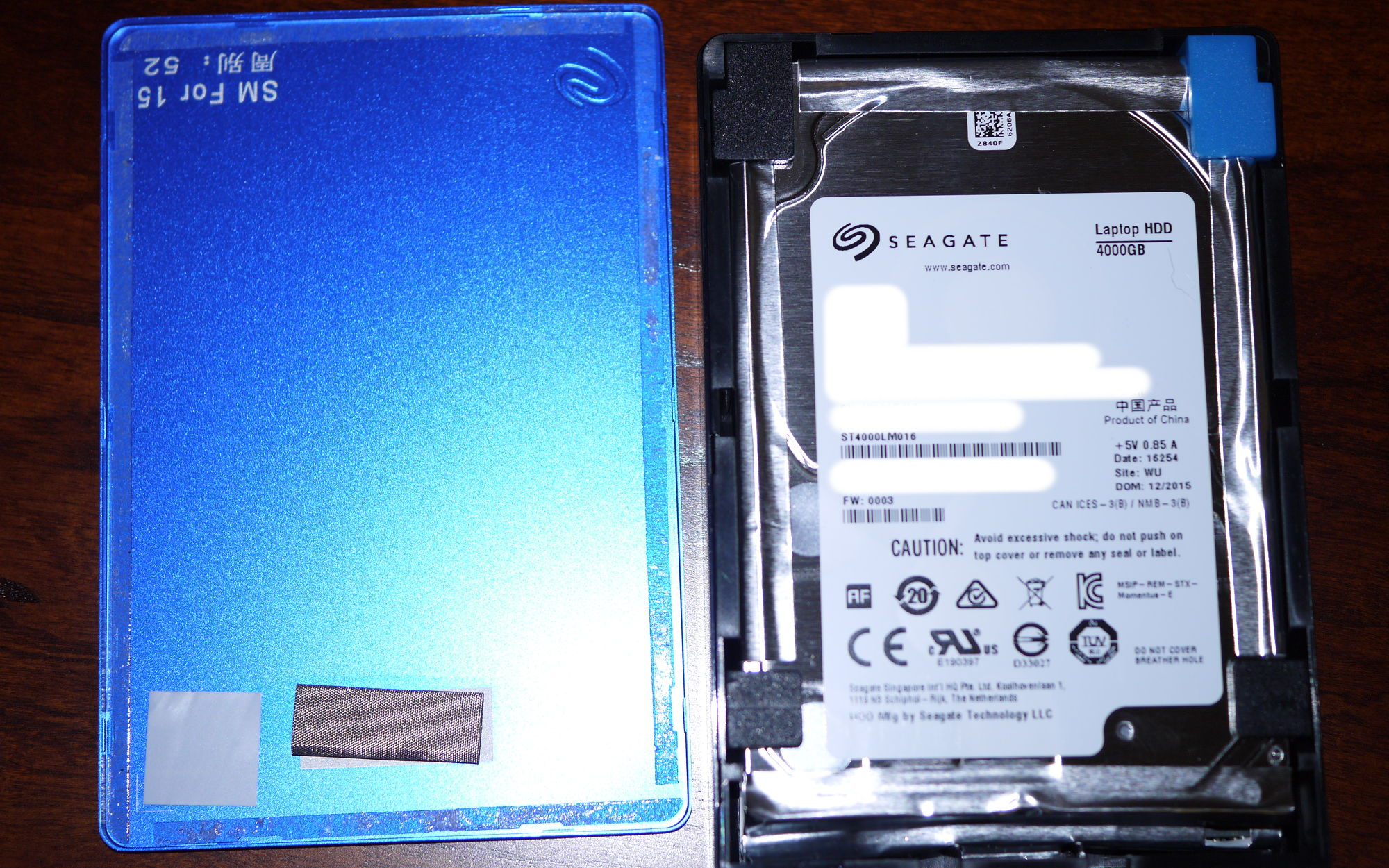 The Seagate 4TB Backup Plus with the lid removed.