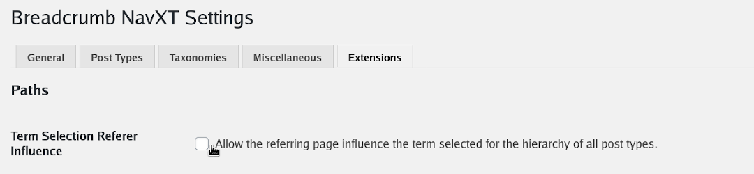 Allows enabling/disabling of the referrer influence on term selection.