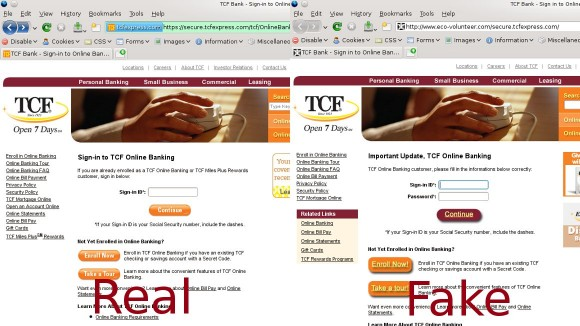 Real TCF eebsite on the left vs fake phishing site on the right